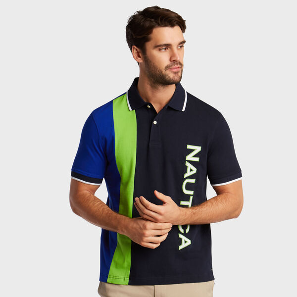 Tri-Color Short Sleeve Classic Fit Polo  - Navy