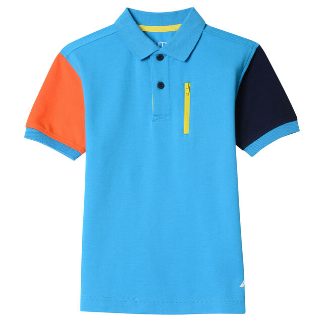 Toddler Boys' Clint Multi Sleeve Zip Pocket Heritage Polo (2T-4T),Washed Blue,large