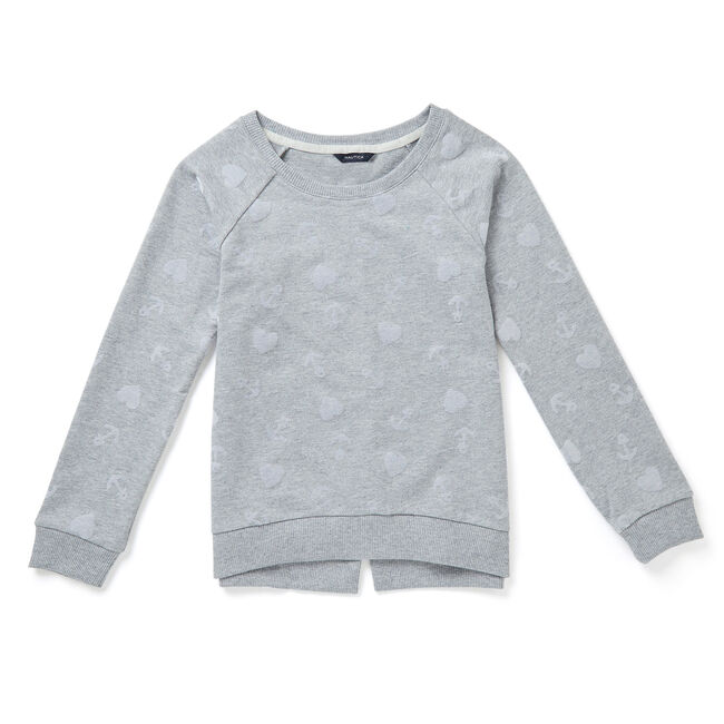 Toddler Girls' Anchor & Heart Sweatshirt (2T-3T),Grey Heather,large