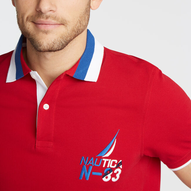 SLIM FIT TIPPED POLO,Nautica Red,large