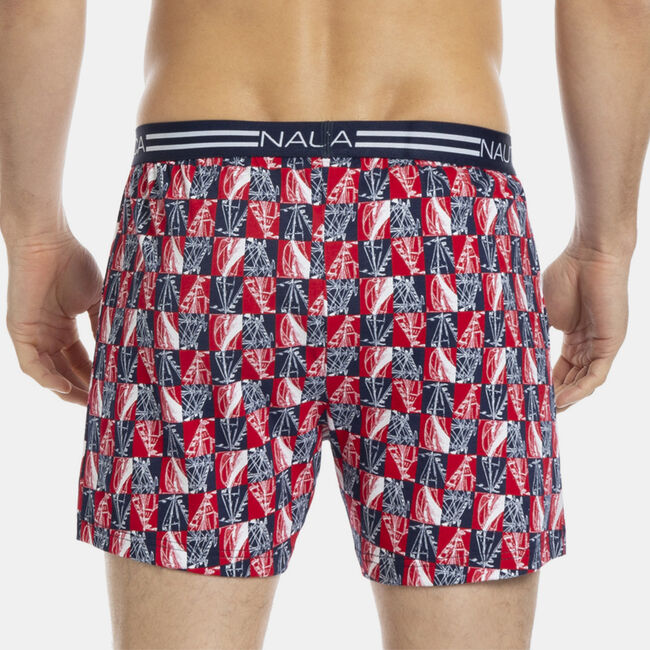 Knit Boxer in Sailboat Checker Print,Carnation Pink,large