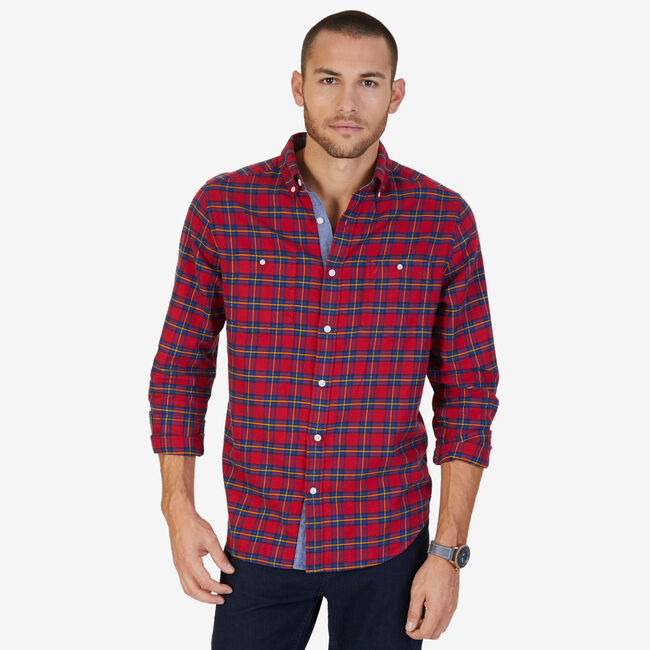 72280ab1 Classic Fit Plaid Flannel Shirt,Nautica Red,large ...