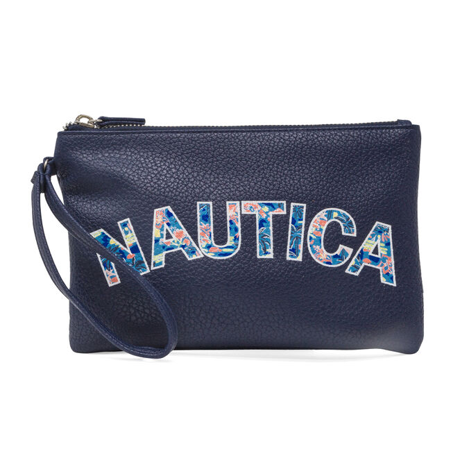 Heritage Logo Flat Wristlet,Pure Dark Pacific Wash,large