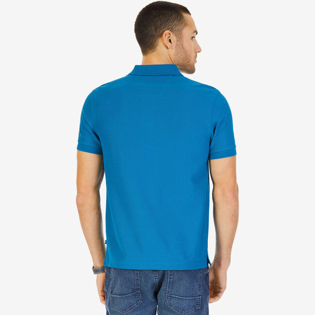 Short Sleeve Slim Fit Performance Tech Polo Shirt,Sea Mist,large