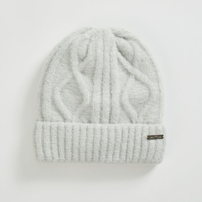 CABLE-KNIT CUFFED BEANIE,Grey Heather,large