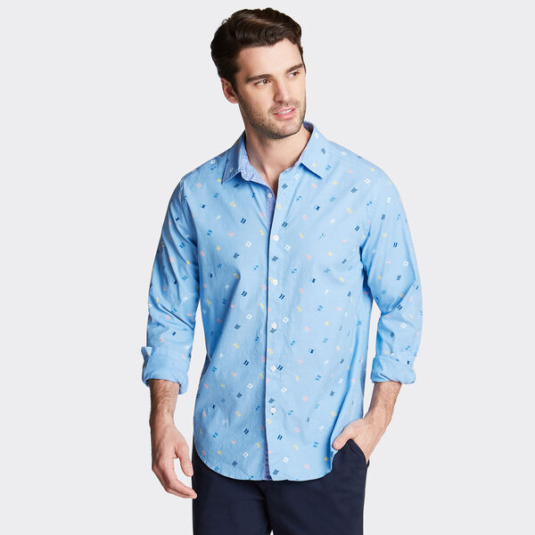 CLASSIC FIT OXFORD SHIRT IN PRINT - Azure Blue