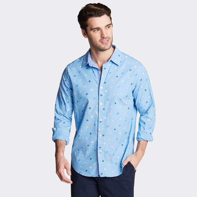 CLASSIC FIT OXFORD SHIRT IN PRINT,Azure Blue,large