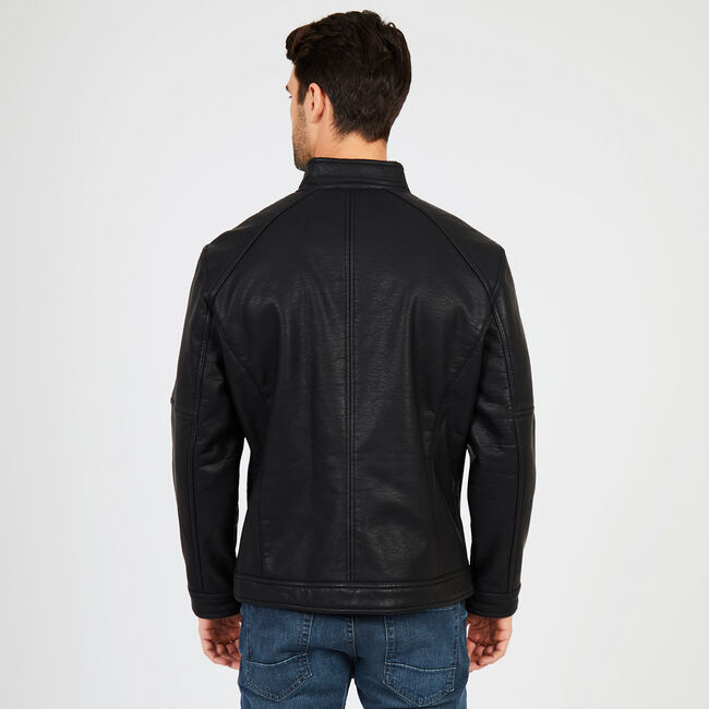Stand Collar Faux Leather Jacket,True Black,large