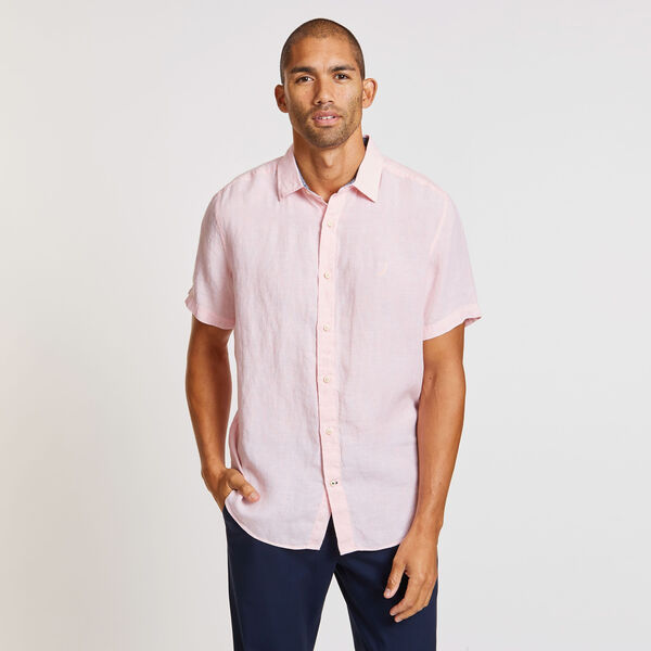 Solid Linen Short Sleeve Classic Fit Shirt - pink