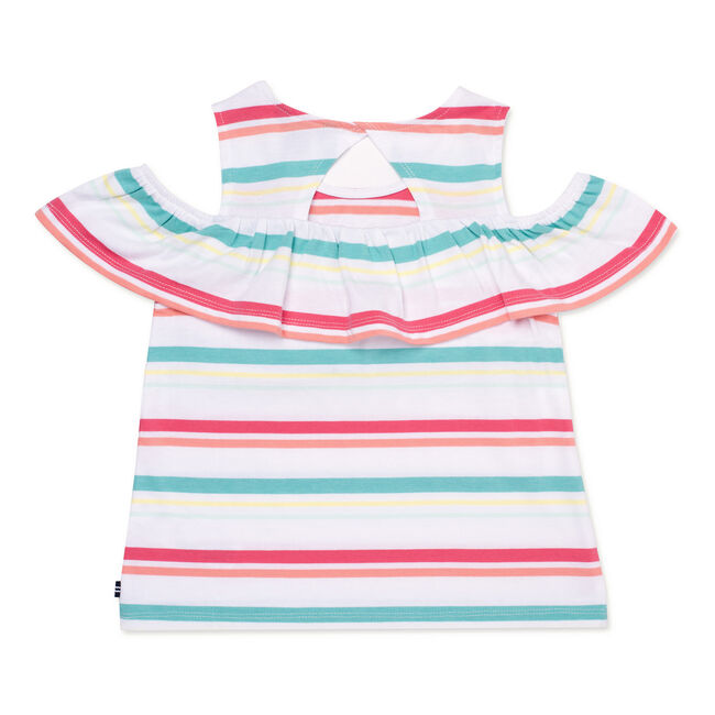 Girls' Striped Ruffled Top (7-16),Firey Red,large