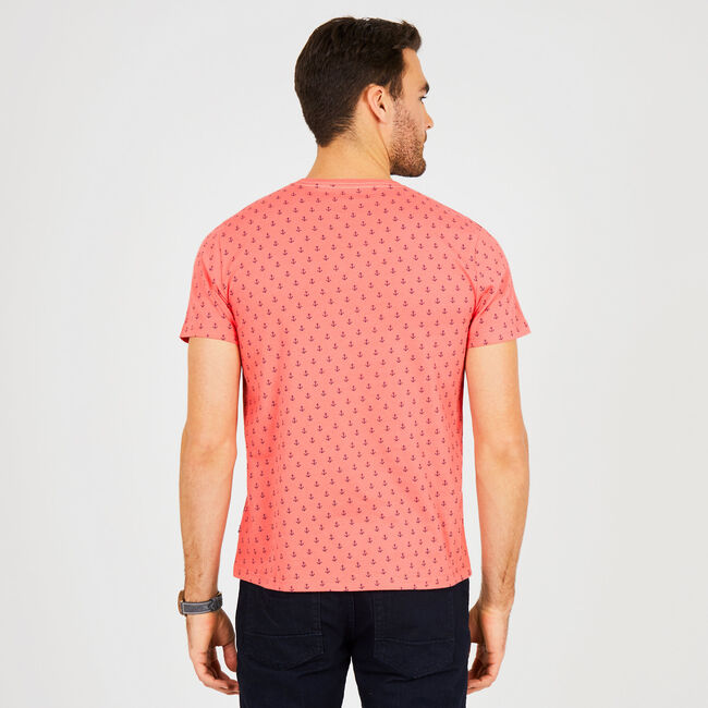 Big & Tall Anchor Motif Crewneck Tee,Dreamy Coral,large