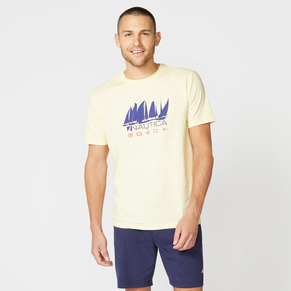 BOAT PRINT SLEEP T-SHIRT - French Vanilla