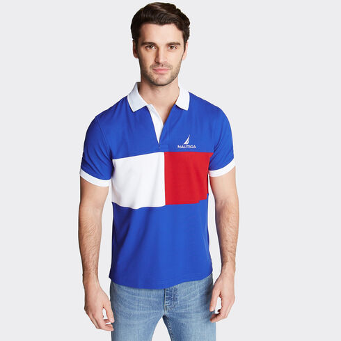 Colorblock Performance Polo - Bright Cobalt