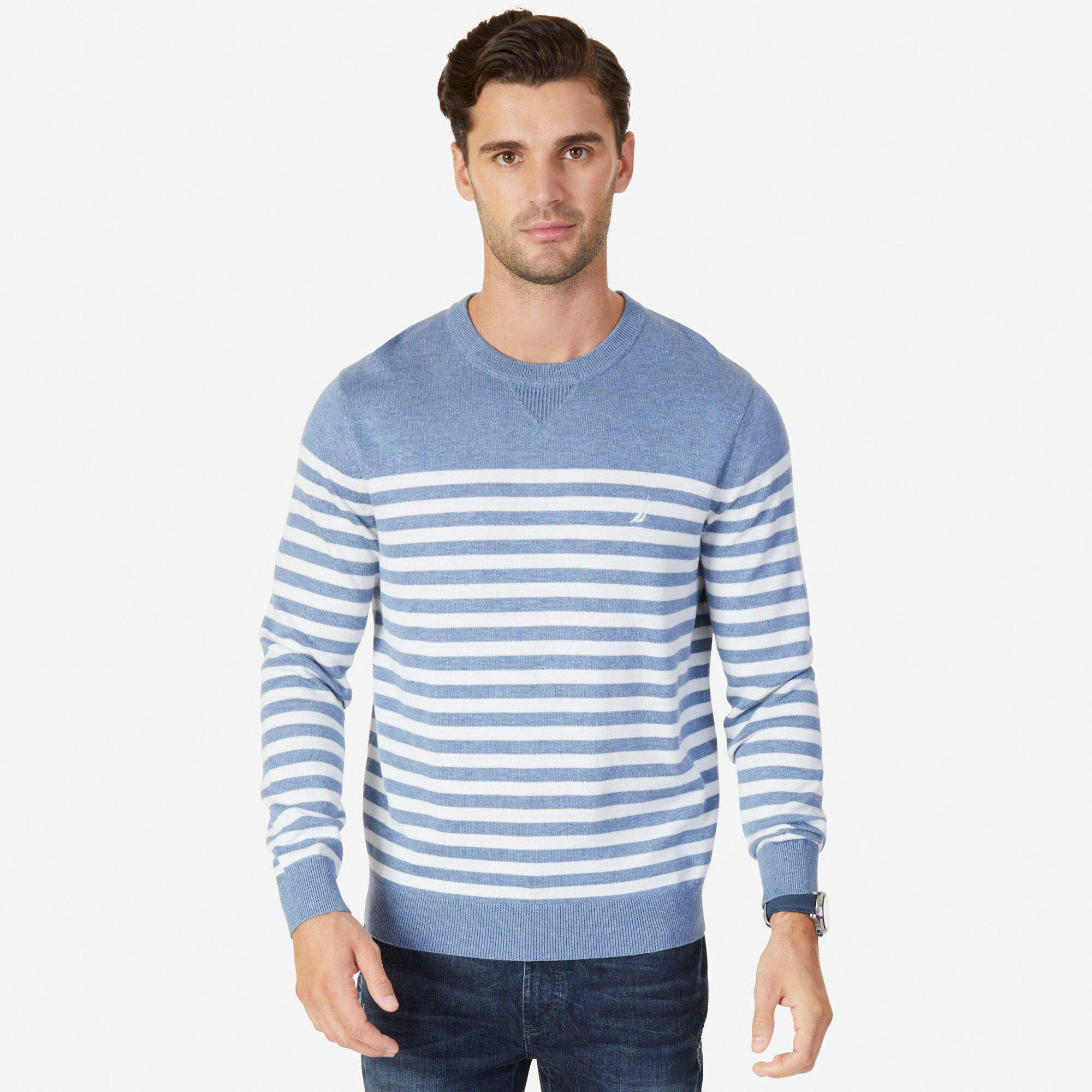 Long Sleeve Breton Stripe Crewneck Sweater Nautica