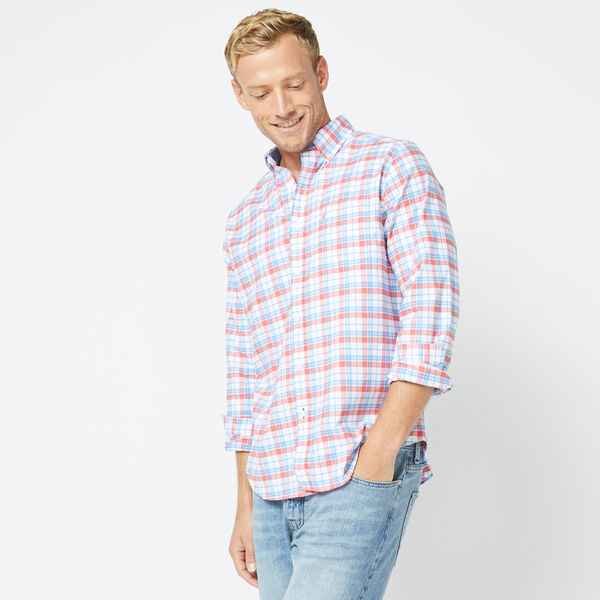 CLASSIC FIT LONG SLEEVE PLAID OXFORD SHIRT - Coral Dream
