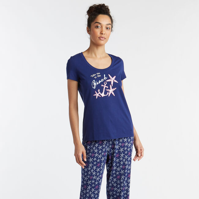 SHORT SLEEVE PAJAMA SET IN SEA STAR PRINT,Sapphire/Pitch Yellow,large