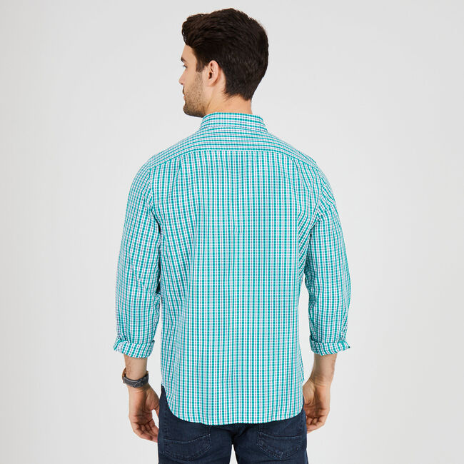 Long Sleeve Plaid Classic Fit Button Down,Green Coast,large