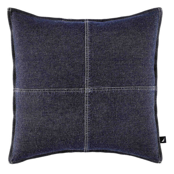 Seaward Denim Square Throw Pillow - Naval Blue