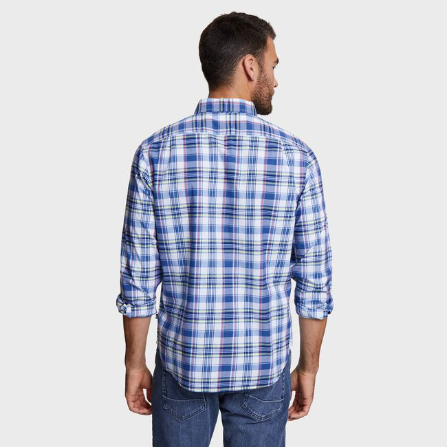 Big & Tall Plaid Classic Fit Shirt,Blue Depths,large
