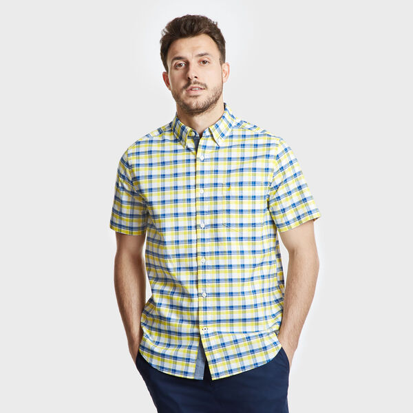 Short Sleeve Oxford Plaid Classic Fit Shirt - Pulp Yellow