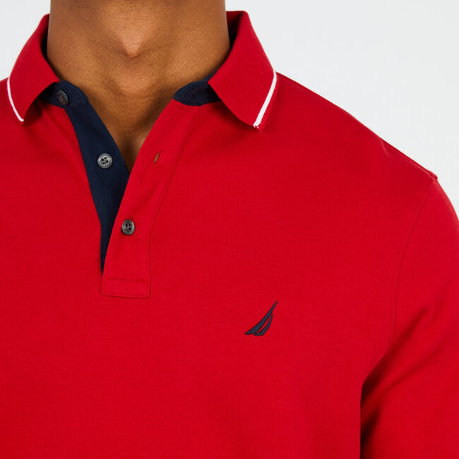 Sailing Flags Long Sleeve Classic Polo Shirt,Nautica Red,large