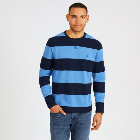Big & Tall Rugby Stripe Crewneck Pique Sweater - Navy
