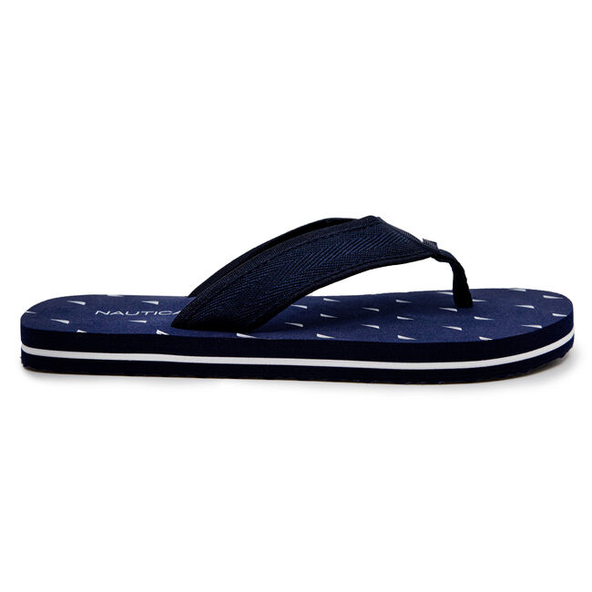 J-CLASS EMBELLISHED THONG SANDALS,Navy,large