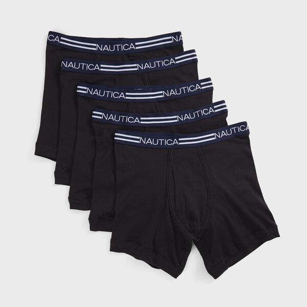 LOGO AND STRIPED WAIST BOXER BRIEFS, 5-PACK - Black