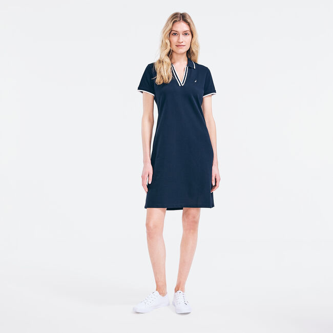 SUSTAINABLY CRAFTED SPLIT-NECK POLO DRESS,Stellar Blue Heather,large