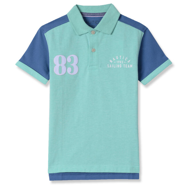 Little Boys' Richie Short Sleeve Jersey Polo (4-7),Fin Green,large