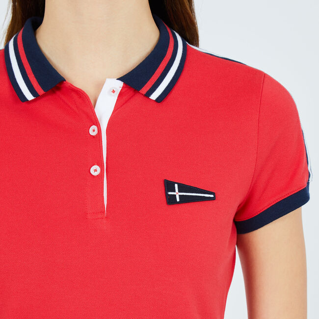 Short Sleeve Stripe Detailed Stretch Polo Shirt,Buoy Red,large