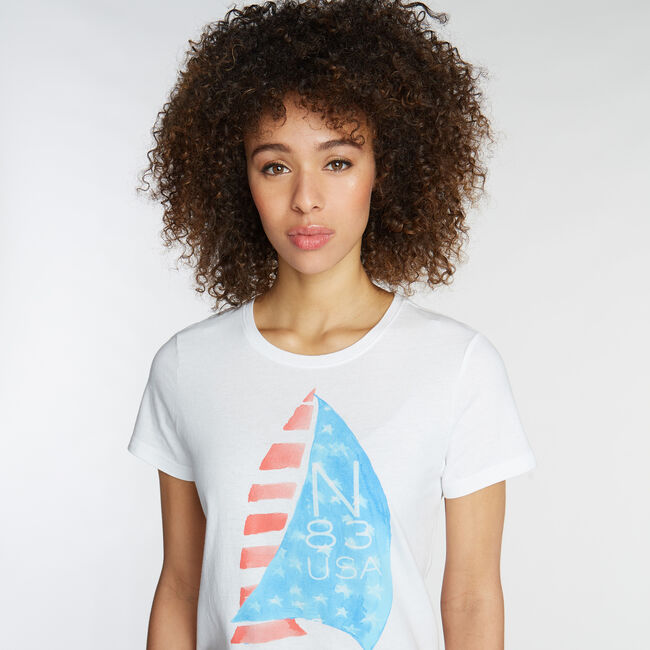 CLASSIC FIT T-SHIRT IN WATERCOLOR GRAPHIC,Bright White,large