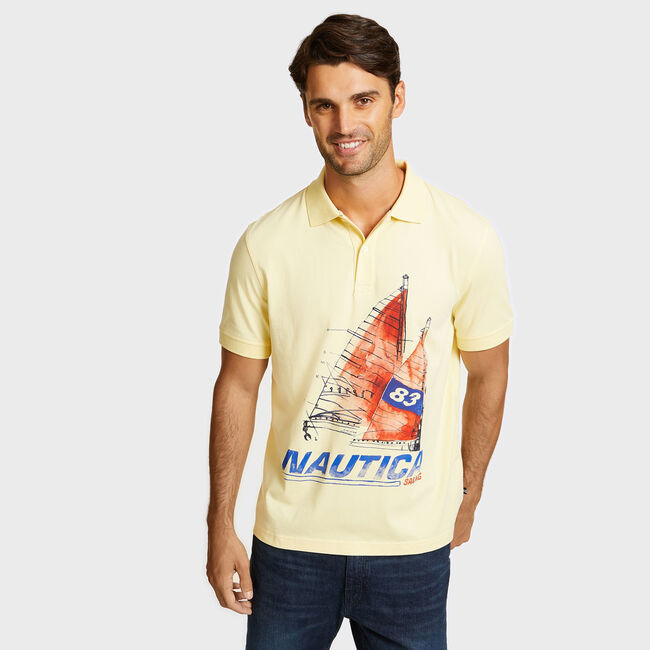 Artist Series Painted Sailboat Polo in Classic Fit,French Vanilla,large