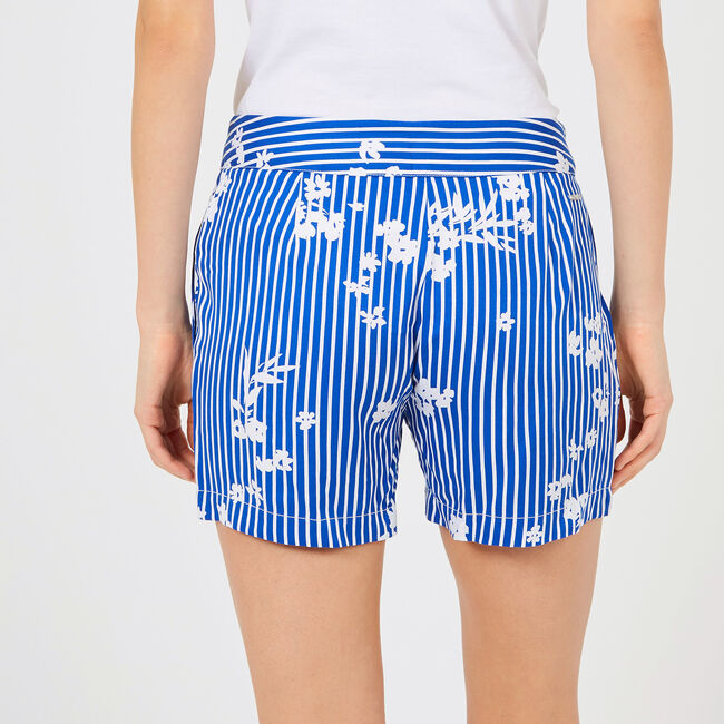 "Striped +  Floral Pleated Shorts - 5"" Inseam,Bright Cobalt,large"