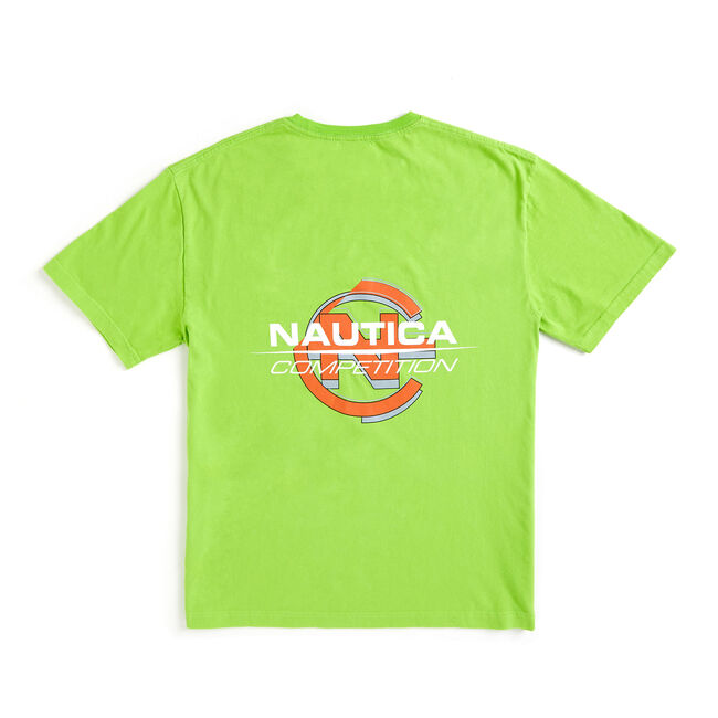 Lil Yachty by Nautica Competition Crewneck Tee,Lime Surf,large