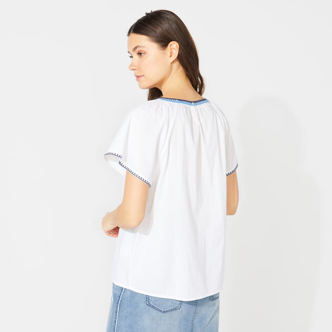 NAUTICA JEANS CO. EMBROIDERED TOP,Bright White,large