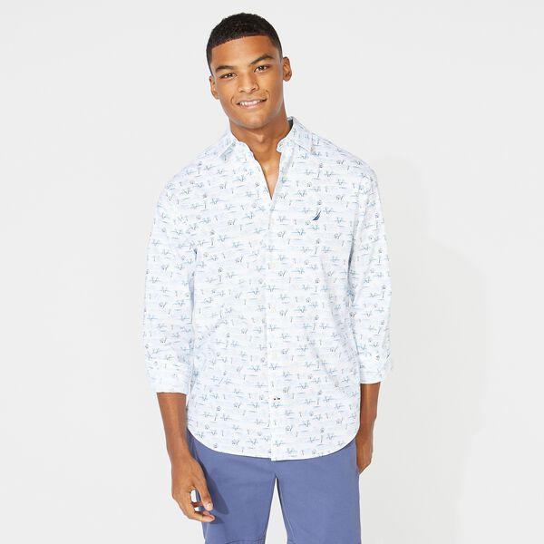 CLASSIC FIT PALM PRINT SHIRT - Bright White