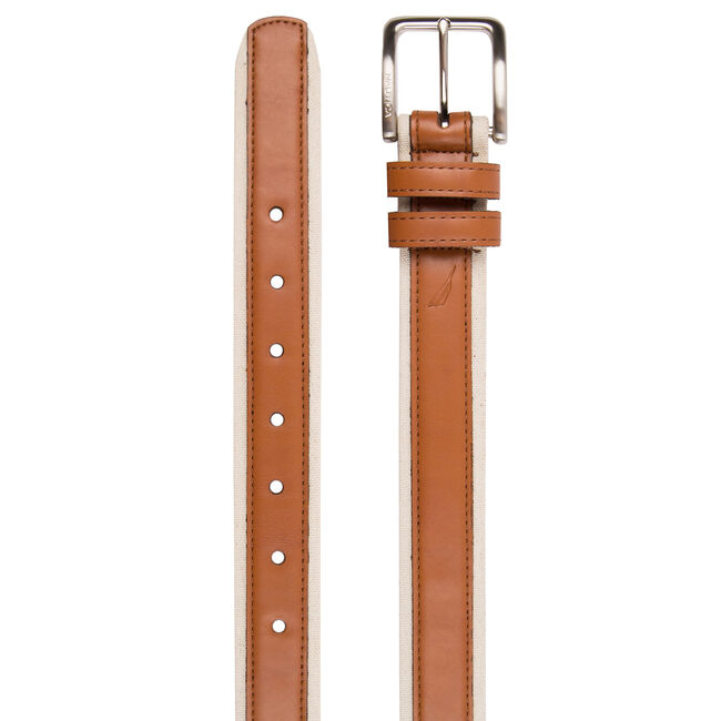 Canvas Belt With Leather Overlay,Tuscany Tan,large