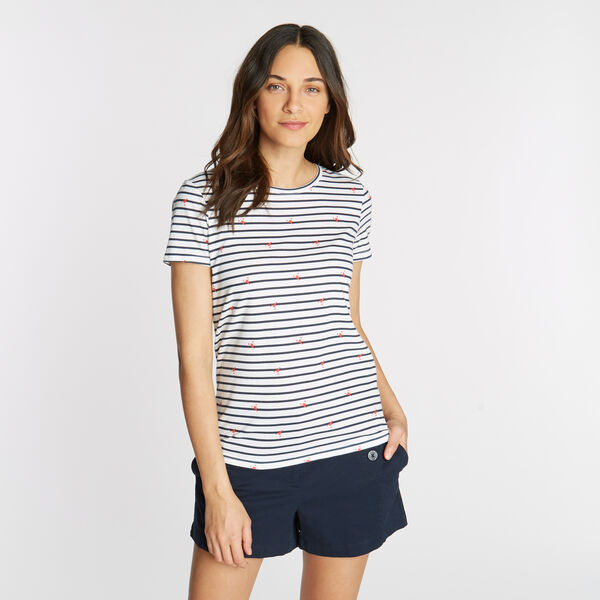 CLASSIC FIT T-SHIRT IN STRIPE & LOBSTER PRINT - Bright White
