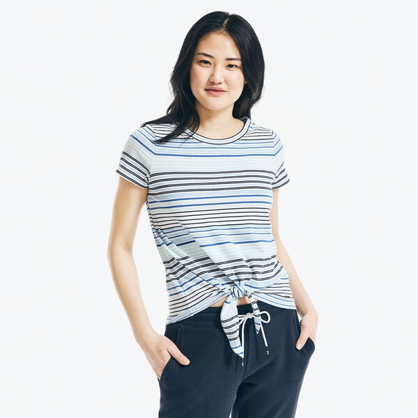 STRIPED TIE-FRONT TOP - Aqua Splash