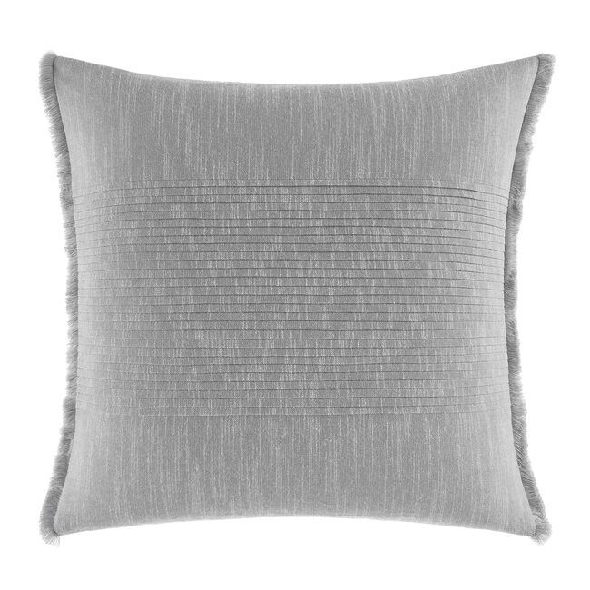 Bronwell Fringe Pleated Square Throw Pillow in Light Grey,Grey Heather,large