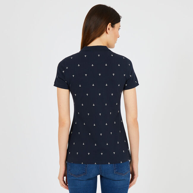 Anchor Motif Classic Fit Polo,Navy,large