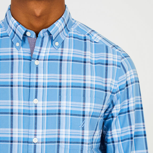 Tonal Plaid Long Sleeve Classic Fit Button Down ,Riviera Blue,large