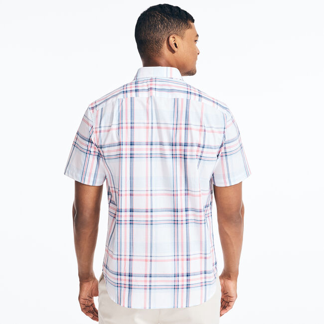 CLASSIC FIT STRETCH PLAID SHIRT,Bright White,large