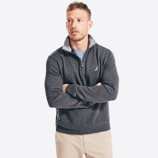QUARTER-ZIP FRENCH-RIBBED SWEATER - Charcoal Heather