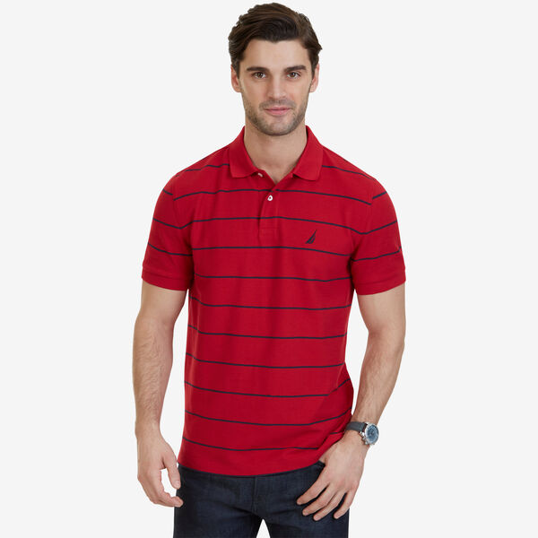 Classic Fit Striped Performance  Polo Shirt - Nautica Red