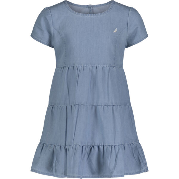 TODDLER GIRLS' TIERED CHAMBRAY DRESS (2T-4T) - Nite Sea Heather