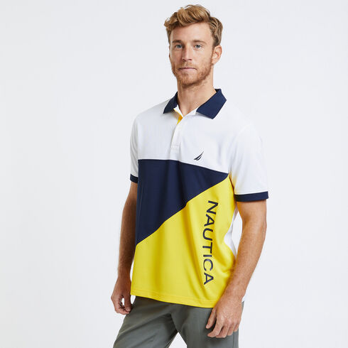 SHORT SLEEVE COLOR BLOCK PERFORMANCE POLO IN CLASSIC FIT - Shoreline Yellow