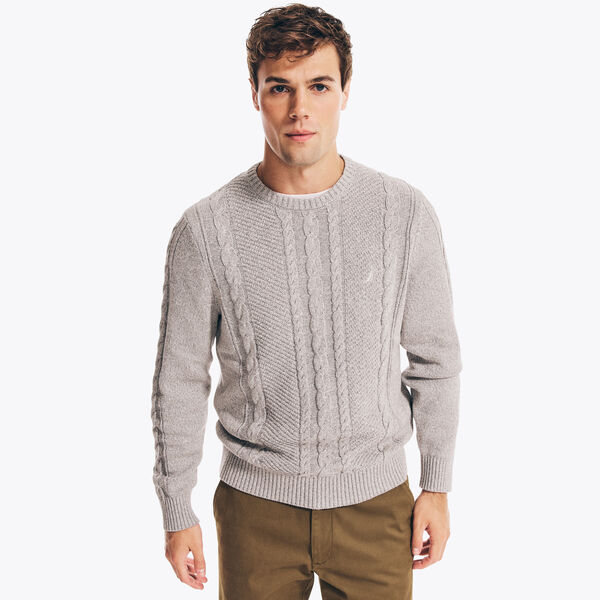 CABLE-KNIT SWEATER - Light Putty