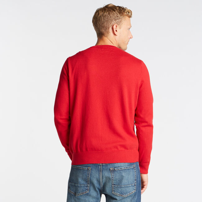CREWNECK RIBBED FRONT SWEATER,Nautica Red,large